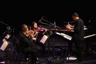 A close-up of the orchestra